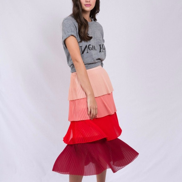 ac09e34a6 delfi collective Skirts | Lauren Tiered Pleated Skirt | Poshmark
